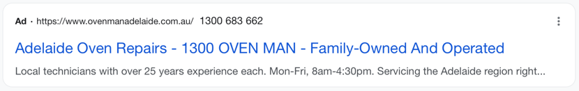 Oven Man Adelaide Advert